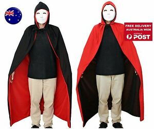 Women Girl Boy Halloween Cape Cloak Vampire Witch Fancy Costume Black red 120