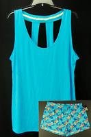 Daisy Fuentes Womens Pajamas 2 Piece Blue Green Plus Size 1x 2x