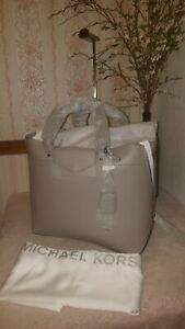 320c1e6ec8a62 MICHAEL Michael Kors Blakely Large Leather Tote Bag Pearl Grey  598 ...