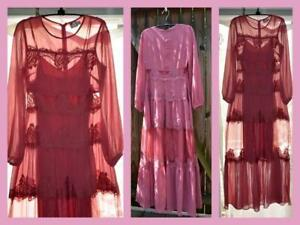 e2bfba1c88 New ASOS rose lace sheer tiered long sleeve maxi prairie romance ...
