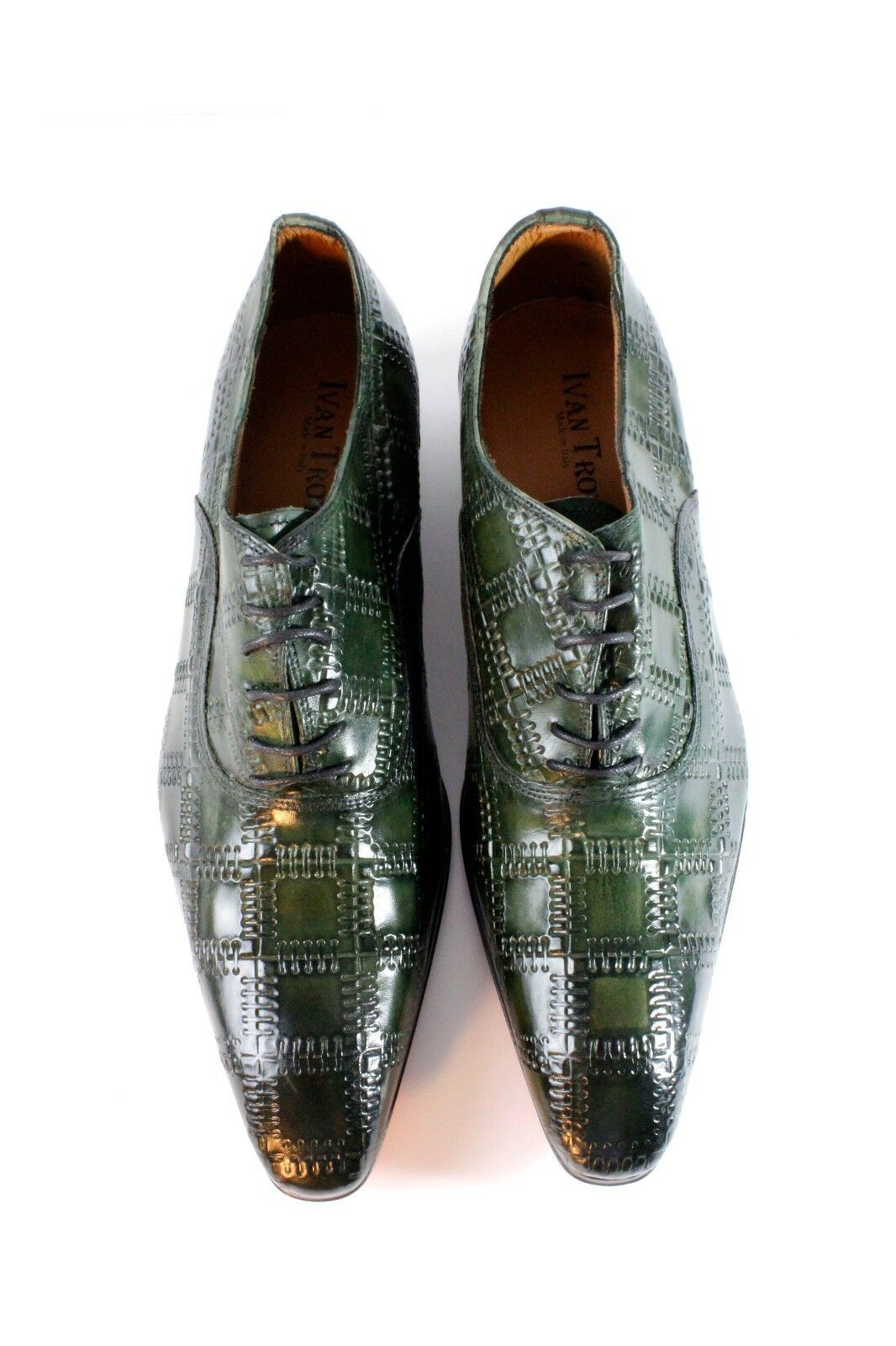 Ivan Troy Green Handmade Patchwork Shoes/Oxford Uomo Italian Pelle Dress Shoes/Oxford Patchwork Shoes 1d4639