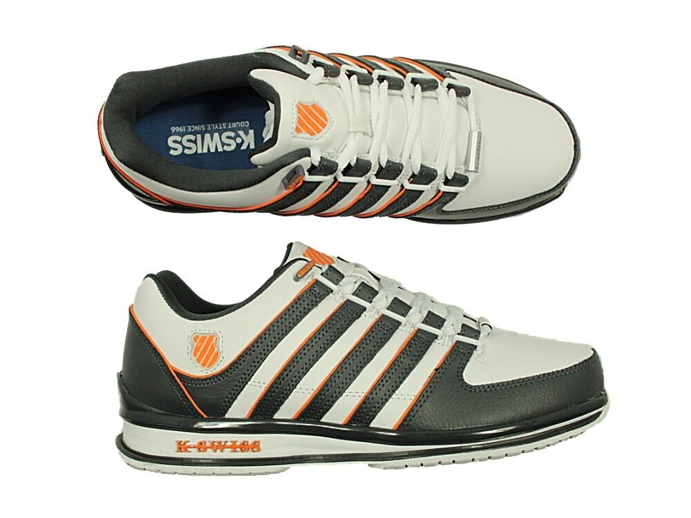 Herren NEW WEISS TRAINERS K.SWISS RINZLER SP WEISS NEW LACE UP LEATHER TRAINERS SIZES 6 - 12 32c0d8