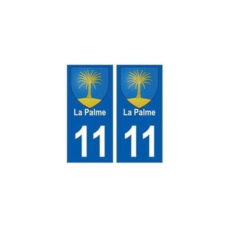 11 La Palme blason ville autocollant plaque -  Angles : droits