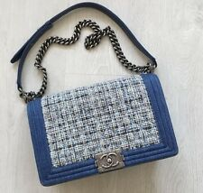 Auth Chanel Rare LE BOY Blue Denim Tweed Chain Bag BIG Medium Plus size - EUC