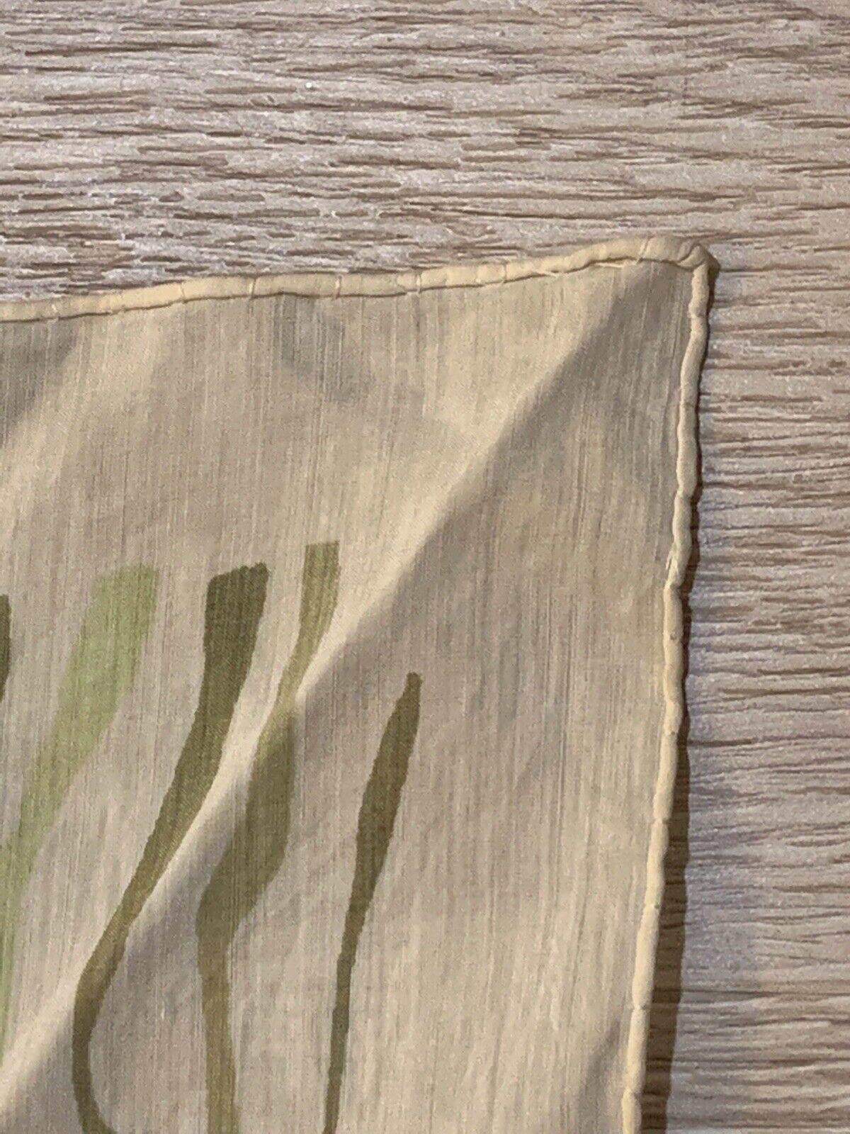 1940's Silk Scarf Greens Wood Grain Print VINTAGE - image 6