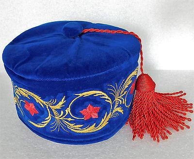Blue imperial smoking hat Red tassel flowers smoking cap 57 58 59 60 61 M L XL