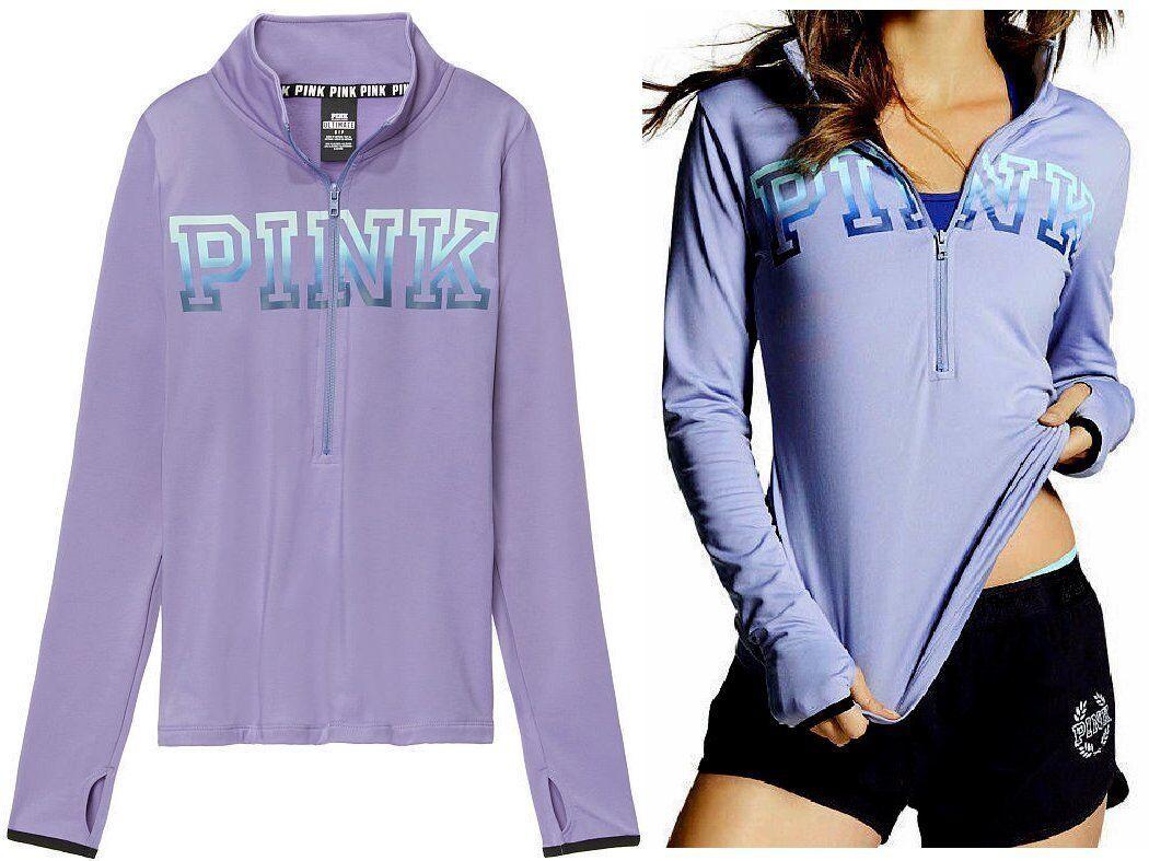 NEW VICTORIA'S SECRET Pink Ultimate Deep Deep Deep Zip Sweater color Purple XSmall 54ecf5