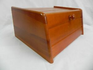 Image is loading Wooden-Bread-Box-Apollo-Drop-Down-Front-Bin- & Wooden Bread Box Apollo Drop Down Front Bin Storage Loaf Large Brown ...