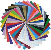 Qbc Craft 36 Pack 12x12 Permanent Adhesive Vinyl Sheets Assortment Multi Colo...