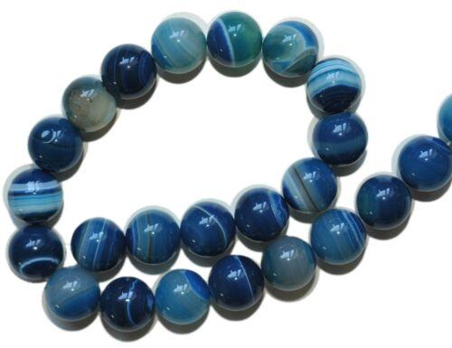 X7-16 14 MM Bleu Agate boules strang