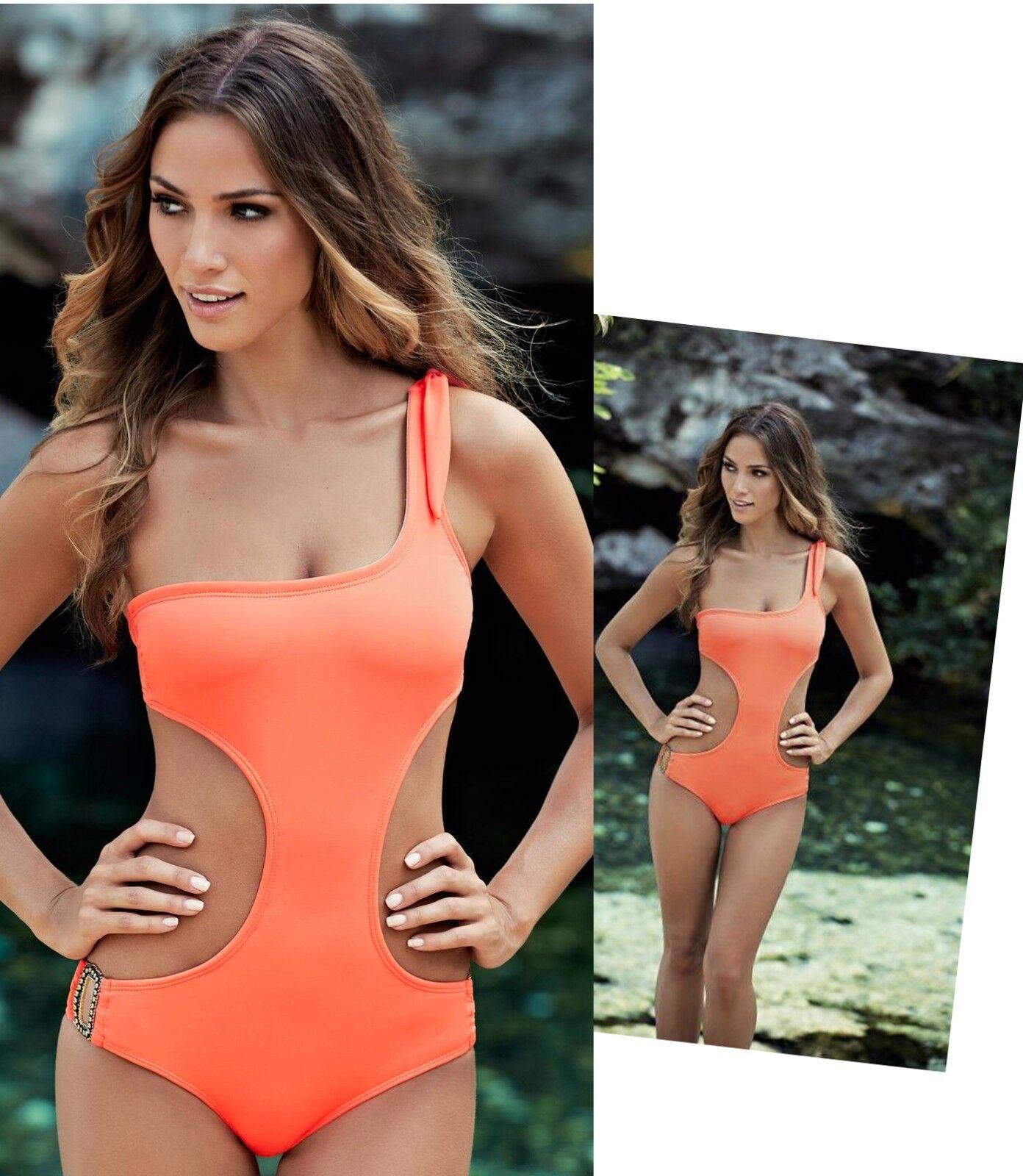 194 OndadeMar Eden Coral One Shoulder Cut Out Monokini Swimsuit L