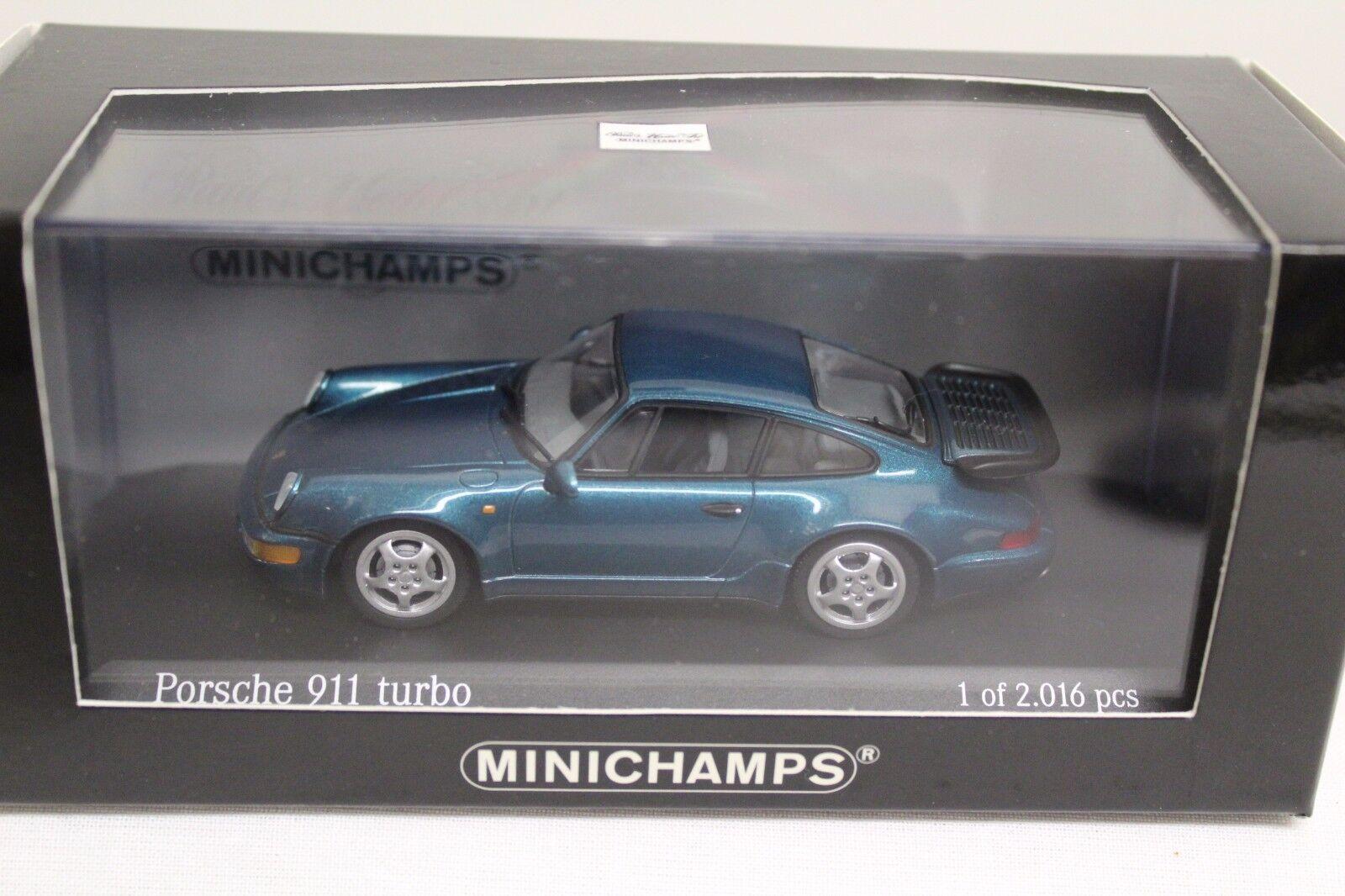 Minichamps Porsche 911 turbo 964 1990 turquesa metalizado 1 43 43 43 nuevo Limited Edition a32849