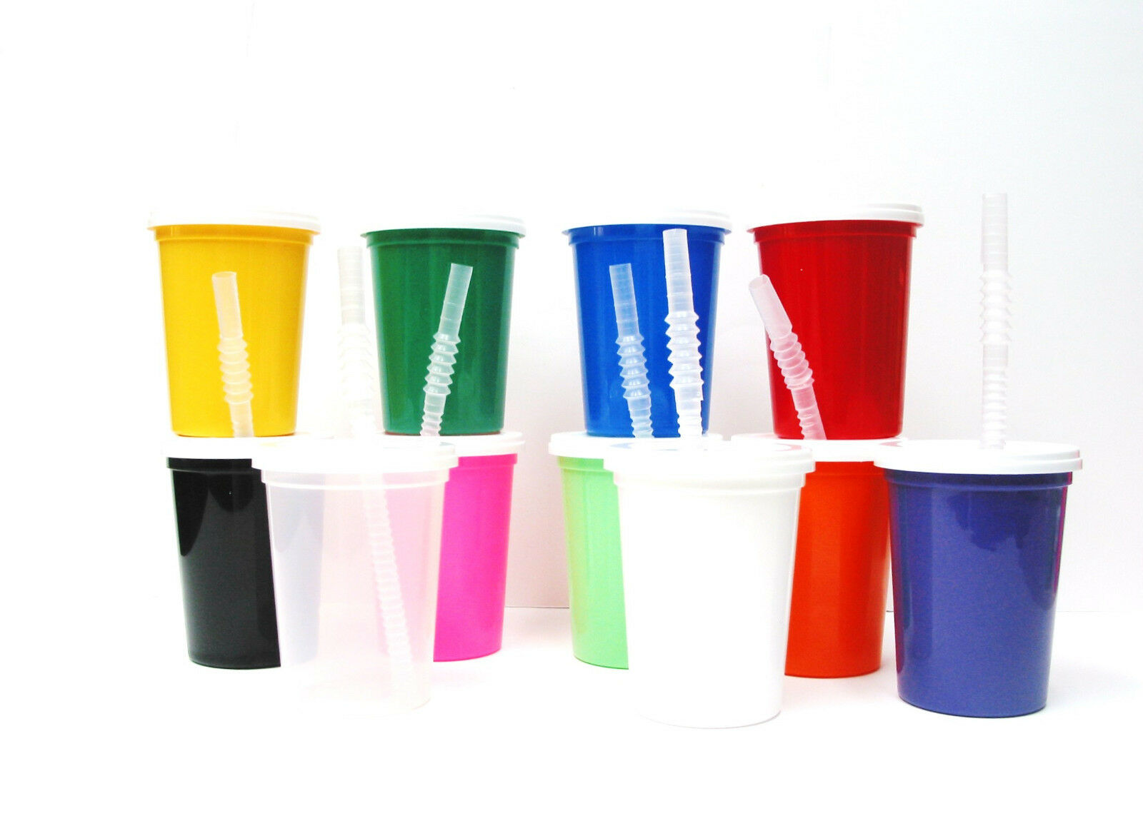 50  12 Oz Mix Farbes Plastic Drinking Glasses Lids Straws Made In America