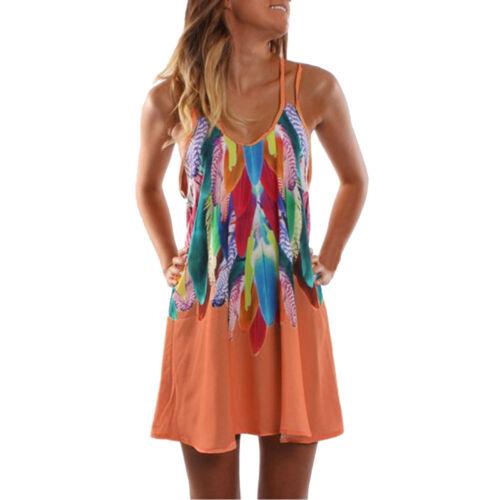 Women/'s Summer Boho Casual Printed Maxi Party Beach Dress Sundress Holiday Girls