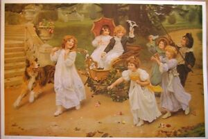 art-print-THE-PROCESSION-Victorian-Children-Playing-carriage-dog-vtg-repro-28x19