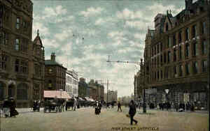 Sheffield-Yorkshire-England-AK-1910-20-High-Street-Strasse-Bank-Geschaefte-Stores