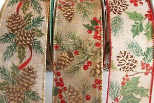 """5 Yards Burlap Pine Cone 2 1/2"""" Wired Ribbon Christmas Fall Berries 5 yds"""