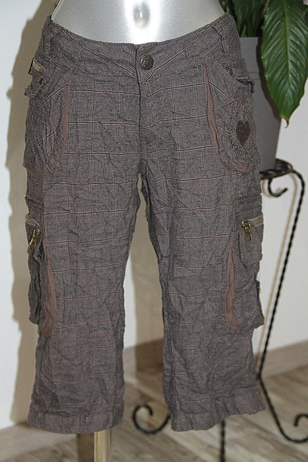 Carino pantalone a tre quarti verificatoa quadretti grey brown KAPORAL