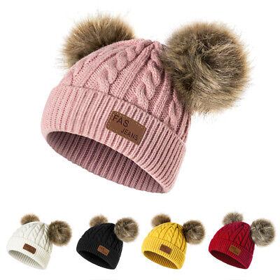 Baby Toddler Kids Pom Pom Winter Beanie Faux Fur Hat Knit Cap