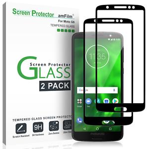 Moto-G6-G6-Play-amfilm-Full-Cover-Protection-d-039-ecran-verre-trempe-2-Pack
