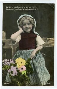 c-1910-Children-Child-Cute-LITTLE-FLOWER-GIRL-French-photo-postcard