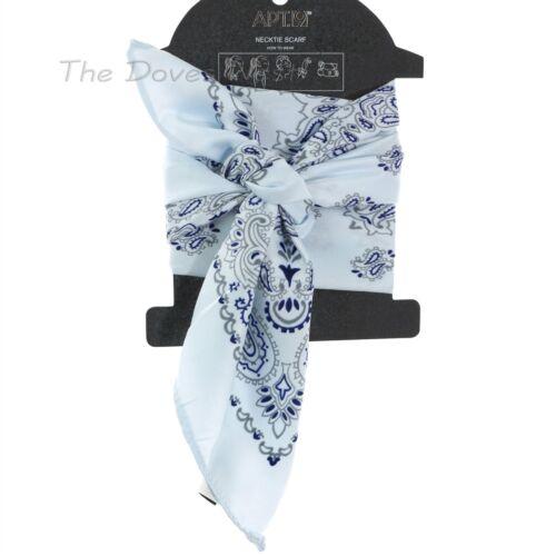 APT 9 PAISLEY Print GREY /& BLUE SCARF Neckerchief HANDBAG TIE Hair Accessory