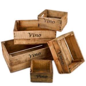 forziere in legno 5er set vino vino motivo usato-vintage design