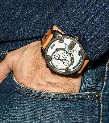 New Diesel DZ7269 Little Daddy chronograph white dial brown leather men's watch!