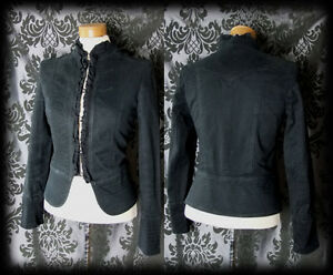 Jacket Frill Riding 8 Fitted Victorian Corset High Gothic Neck Black Steampunk 6 5Aq68