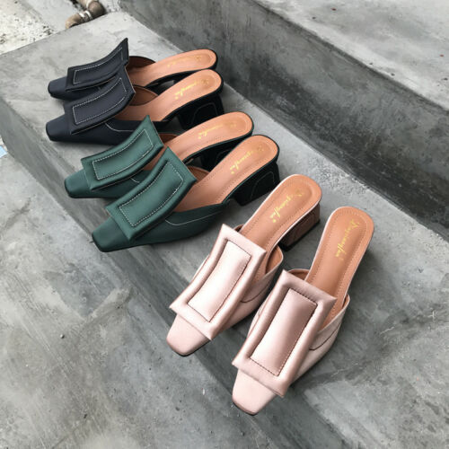 Women/'s Satin Square Toe Mules Chunky Heel Slipper Casual Sandals Slip On Shoes