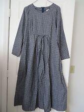 VT Country Store Green Mountain Gray Blue Checker Long Sl Flannel Maxi Dress 10