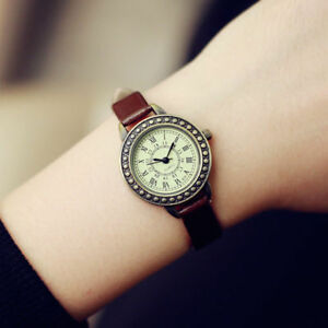 Rome Vintage Small Dial Women Quartz Watch Leather Strap Ladies Slim Wristwatch by Unbranded