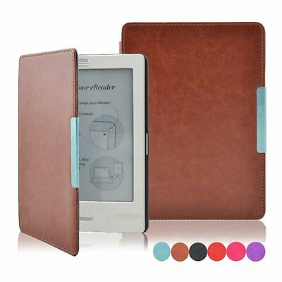 Magnetic Auto Sleep Slim Leather Couer Case Hard Shell For KOBO AURA HD Ereader