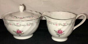 Japan-Fine-China-ROYAL-SWIRL-PINK-ROSE-CREAMER-amp-SUGAR-W-LID