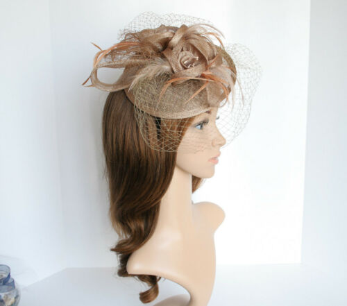 NEW Church Derby Wedding Sinamay /& Feather /& Veil Fascinator Taupe VF651