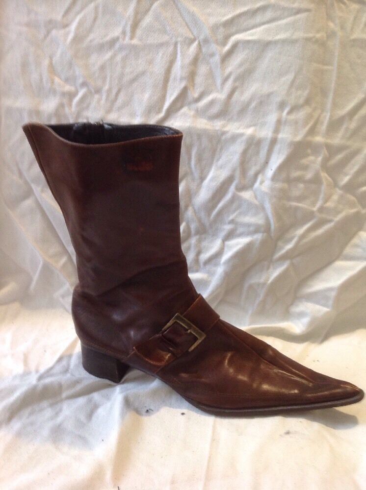 Enzo Di Siena Brown Mid Calf Leather Boots Size 39.5