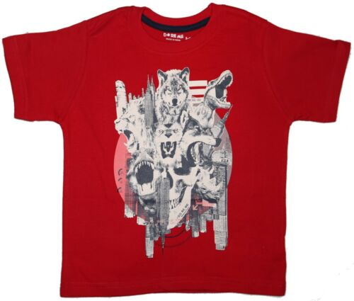 Red Kids Size 2~7  T-shirt Animal Print Boys