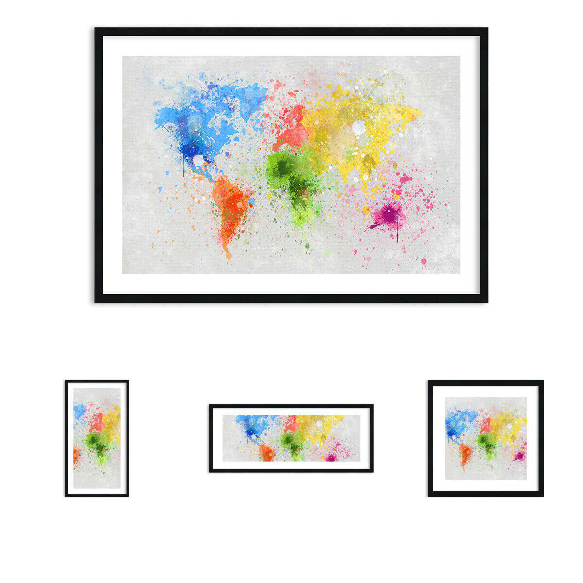 Bild im Rahmen - Karte Welt modern 3559 DE