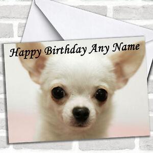 White Chihuahua Dog Personalised Birthday Greetings Card