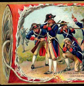 "4TH JULY ""CONTINENTAL ARMY"" AMERICAN REVOLUTION,RIFLES,FIRECRACKER,TUCK POSTCARD"