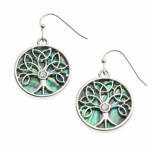 Celtic-Tree-of-Life-Earrings-Abalone-Shell-Womens-Silver-Fashion-Jewellery-Gift