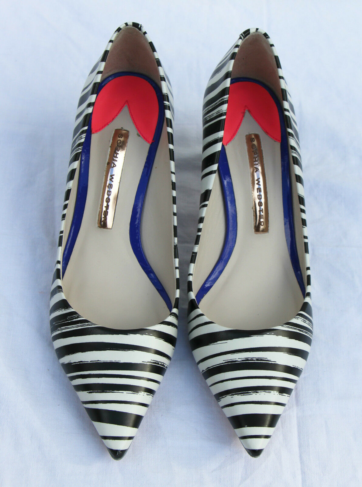 NEW Sophia Webster Lola Small Stripe 70 Leather Pointy shoes Pump Heels 36,5