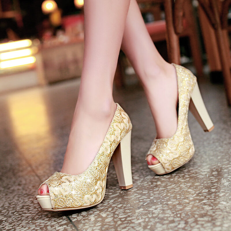 Cute Lady Bridal Block High Heels Open Toe Pumps Wedding Sandals Shoes Pumps Hot