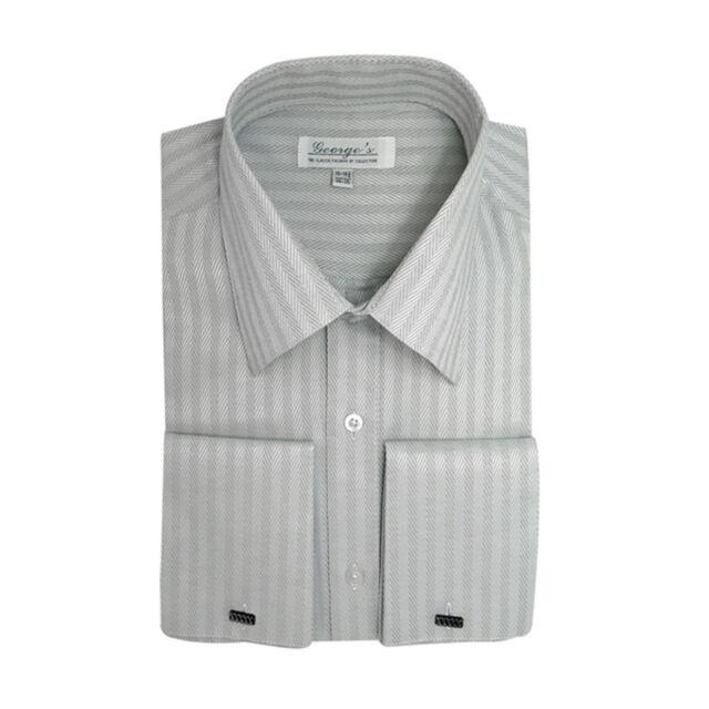 Men's Herring Bone Striped Casual Dress Shirt #29 Cotton Blend French Cuff
