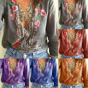 Women-T-Shirt-Embroidered-Flowers-Tee-Deep-V-Neck-Long-Sleeve-Shirts-Top-Blouse