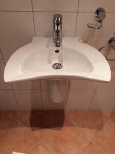 Details zu Villeroy +Boch Tiora Hand Waschbecken 50 mit Halbsäule weiß und  Dornbracht Meta
