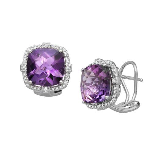 7 5//8 CT AMÉTHYSTE NATURELLE /& 1//5 Ct diamant Coussin boucles d/'oreilles en argent sterling