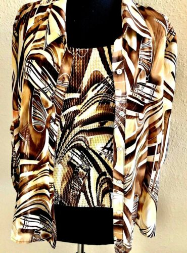 Sere Nade Brn/Beige Print Button Down Blouse With