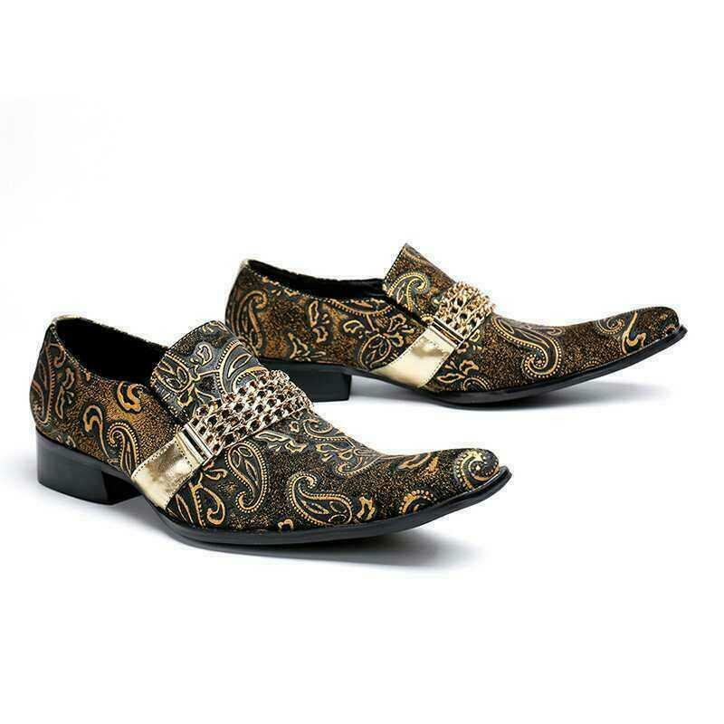 Men Pointy Toe Floral Embroidery Genuine Leather Loafers Dress shoes Casual Pump