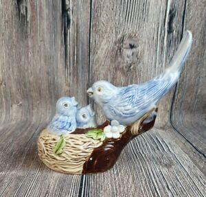 Vintage Blue Bird with babies in nest ceramic figurine - Glazed ceramic Bird!!!!